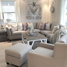 Loving this light grey and pink modern and cozy living room decor Here are 28 cozy living room decor ideas and everything you need to recreate these cozy living room vibes in your apartment. Small Living Room Design, Living Room Decor Cozy, Family Room Design, Rooms Home Decor, Living Room Grey, Small Living Rooms, Living Room Sets, Living Room Designs, Modern Living