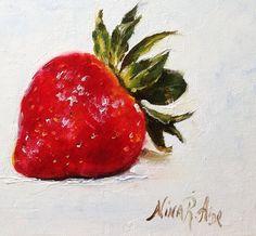 Fresa Original pintura al óleo de Nina R.Aide 6 por NinaRAideStudio
