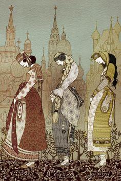 me hace acordar mucho a los cuentos rusos que leia de chica donde habían 3 princesas embrujadas o 3 princesas brujas no se, pero venían de a tres siempre