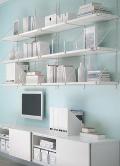BESTÅ storage combination with sliding doors and EKBY JÄRPEN/EKBY GÄLLÖ wall shelves all in white