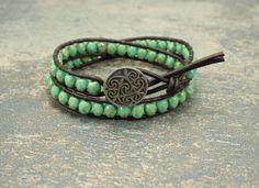 Bohemian Leather Wrap Bracelet Silver Turquoise Colorful Celtic Bracelet Handmade Boho Chic Jewelry