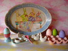 Easter   Pascua - Pintura sobre porcelana Cecil Somosa