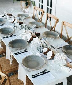 Exotic beach wedding tablescape
