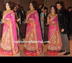 Genelia D'Souza in pink lengha by Sabyasachi  Desi Indian bride dulhan make up lehenga