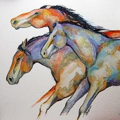 Horse Painting Three Ponies Racing, by Laurie Justus Pace