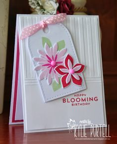 CASE me at Time Out! Kylie is Addicted to Stamps - Stampin' Up Flower Patch & Flower Fair Framelits, Lil'Inker stitched Tag
