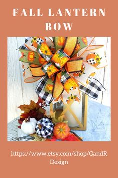 Add a pop of color to any lantern for fall.  You can find this multi ribbon handtied bow in my Etsy Shop #falldecor  #lanterndecor  #allthingsfall  #pumpkinspiceseason  #diyfall Fall Lanterns, Lanterns Decor, Wreath Bows, Diy Wreath, Autumn Decorating, Fall Decor, Plaid Decor, Harvest Decorations, Autumn Wreaths