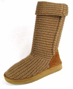 d1fc65f6d2 UGG AUSTRALIA Light Brown Tan Classic Cardy Knit Pull On Boots Womens 7   UGGAustralia  SnowWinterBoots