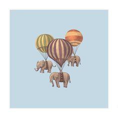Flight of the Elephants Blue Art Print