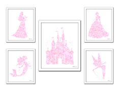 Soft Pink Princess print Disney princess light by FluidDiamondArt