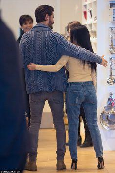 Getting close: Scott put an arm around Kourtney as they filmed their reality show
