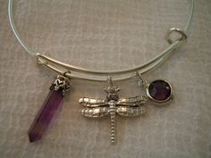 Handmade ~ Sterling Silver ~ Adjustable ~ Bracelet ~ Bangle ~ Amethyst ~ Charms ~ Dragonfly ~ Purple ~ Alex and Ani Style by fairygardenboutique on Etsy