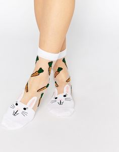 Image 1 of ASOS Sheer Rabbit And Carrot Ankle Socks