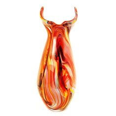 "Luxury Lane Hand Blown Abstract Art Glass Vase with Horned Opening 19"" tall Luxury Lane http://www.amazon.com/dp/B00IT2HZ54/ref=cm_sw_r_pi_dp_0Tpnwb1GBW8WP"