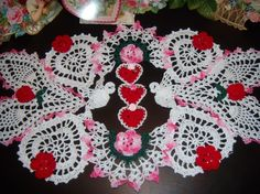 Valentine Roses love birds hand crochet doily by solerichard