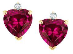 Star K Heart Shape Simulated Pink Tourmaline Earrings Studs
