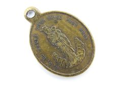 Antique French Our Lady of the Sacred Heart - Sacred Heart of Jesus Catholic Medal - Religious Bronze Medallion  by LuxMeaChristus