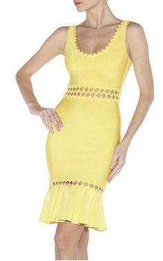 Yellow Hollowed-Out Bandage Dress By Herve Leger
