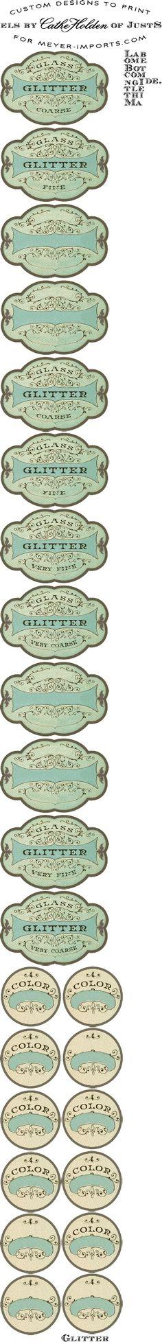 JSIM Glitter Bottle Labels (See more glitter labels in my Graphix Labels board, Ty Ammamazy) - DIY Homer Printable Labels, Printable Paper, Printables, Glitter Lips, Green Glitter, Glitter Stars, Bottle Labels, Bottle Packaging, Beer Labels