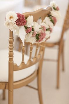pretty floral details on this gilded chair