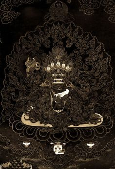 Tibetan Buddhist Thangka of Mahakala (gold on black)