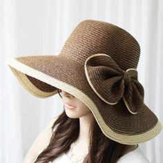 46dbe2af5a7  4.91 Exaggerated Bicolor Bowknot Embellished Broad Brim Straw Cap For  Women Straw Hats