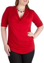 Easygoing Afternoon Top in Red - Plus Size | Mod Retro Vintage Short Sleeve Shirts | ModCloth.com