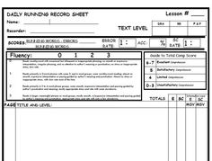 This Is A Blank Running Record Recording Sheet It Can Be Used