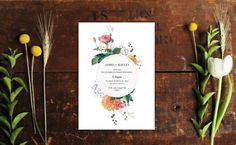Vintage Botanical Wedding Invitations Floral pink Peach White by Sail and Swan