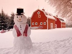 Red barn with snowman, winter, near Oakbank, Manitoba, Canada Country Christmas, Winter Christmas, Christmas Lodge, Christmas Time, Christmas Blessings, Christmas Morning, Christmas Ideas, Merry Christmas, Winter Snow Pictures