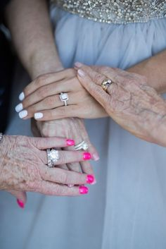 39 Getting-Ready Wedding Photos Every Bride Should Have: #3. Emotional photo of engagement rings wwith mom and grandmas
