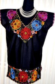 Vibrant Mexican Floral Embroidered Blouse / Huipil / Tunic from Yucatan, Mexico Mexican Blouse, Mexican Outfit, Mexican Style Dresses, Mexico Dress, Mexican Embroidery, Couture, Blouse Dress, Embroidered Blouse, Designing Women