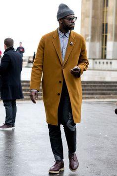 Mustard overcoat with beanie