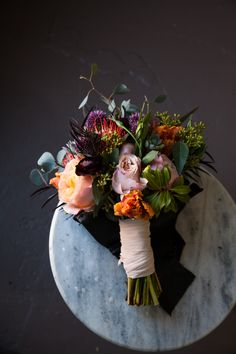Bramble Floral Design | Portland Florist | Portland Weddings | Oregon Weddings | Bridal bouquet | Peach flowers garden roses tulips orange flowers