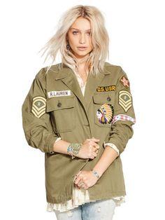 veste militaire ecusson femme
