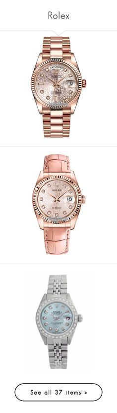 """""""Rolex"""" by mel-grey-lannister ❤ liked on Polyvore featuring jewelry, watches, accessories, bracelets and watches, gold wrist watch, pink gold watches, diamond jewelry, crown jewelry, rolex wrist watch and relógios"""