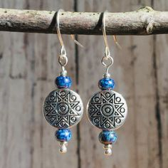 Blue Nordic Picasso Bead and Silver Dangle Earrings / Rustic Southwest Earrings / Boho Jewelry - new season bijouterie Wire Jewelry, Boho Jewelry, Beaded Jewelry, Handmade Jewelry, Jewlery, Sterling Silver Dangle Earrings, Pearl Drop Earrings, Women's Earrings, Amethyst Crystal