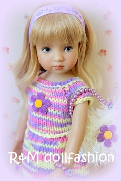 "R&M DOLLFASHION OOAK CUTE LINE handknit set for Effner Little Darling 13"" dolls"