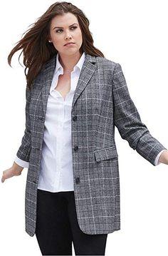 38f98fed2 Ellos Women s Plus Size Long Wool Blend Blazer - Black White Plaid