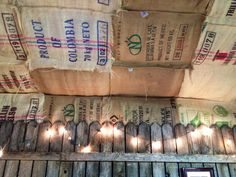 Ceiling lined with rustic coffee bags