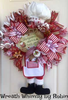 Christmas Santa with Chef's Hat Deco Mesh Wreath in Red, White and Tan, Holiday Wreath, Santa Decor, Gingerbread, Whimsical Xmas Wreath by WreathWhimsybyRobin on Etsy
