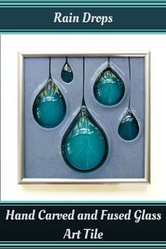 rain drops hand carved and fused glass art tile $130 via etsy michelle prosek