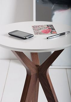 Trio Side Table - Eau de Nil Blue - Walnut