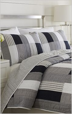 Gray And Navy Bedroom | Winter weight: Navy and cream. The stitching of the herringbone stripe ...