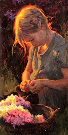 Saw this in person - it's LOVELY! Summer Blossoms by Albin Veselka Oil ~ 24 x 12