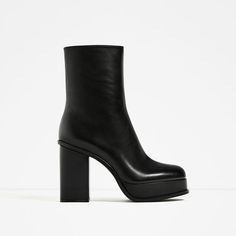 Image 2 of LEATHER ANKLE BOOTS WITH LINED PLATFORM from Zara