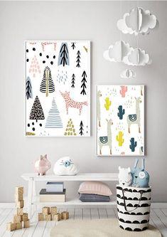 SCANDI llama PRINT modern kids art Scandinavian style bedroom
