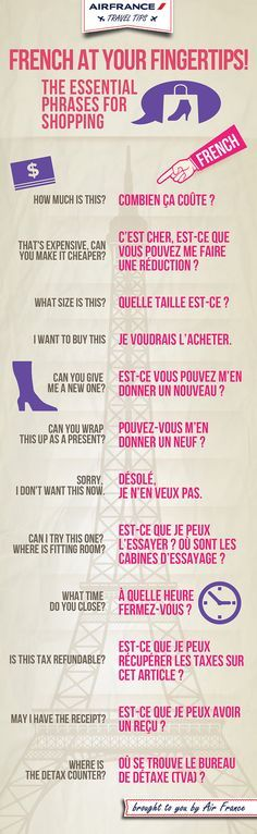 French phrases for shopping. (Mistake with the 6th sentence)