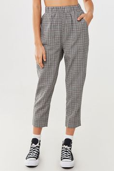 Glen Plaid Jacket & Pants Set | Forever21 | A woven two-piece set, in a glen plaid pattern, featuring a jacket with a basic collar, slanted front pockets, button closures at the front, sleeve cuffs, and chest flap pockets, as well as a matching pair of capri pants with an elasticized waist, slanted front pockets, and a straight leg.  - This is an independent brand and not a Forever 21 branded item.#nextclo #clothes #womenclothes #womenfashion #forever21 Glen Plaid, Plaid Jacket, Two Piece Outfit, Plaid Pattern, Forever21, Cuffs, Capri Pants, Christmas Gifts, Pairs