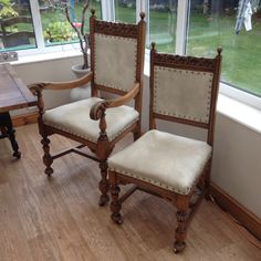 Refurbishing old chairs Old Chairs, Dining Chairs, Conservatory, Projects, Furniture, Home Decor, Log Projects, Blue Prints, Decoration Home
